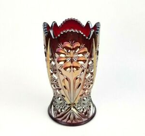 Imperial Glass Vase Four Seven Four Contemporary Red Carnival Glass