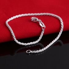 Women Sterling Lady 925 Silver Crystal Chain Bangle Cuff Charm Bracelet Jewelry