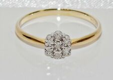 9ct Yellow Gold Diamond Daisy Cluster Engagement Ring - size N