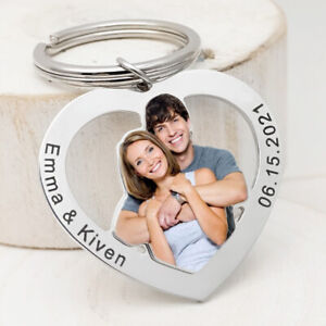 Personalized Photo Keychain Custom Keyring Picture Key Chain Anniversary Gift
