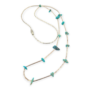 .Beautiful Vintage Liquid Silver Bead & Turquoise Chip Bead Necklace 5g
