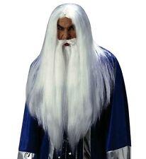 Deluxe Bianco guidata parrucca Gandalf Silente MERLIN thones Halloween