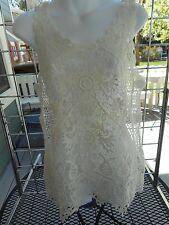 NWOT-Karen Kane-sz M-Sleeveless lace/crochet tank top-Cream-100% cotton