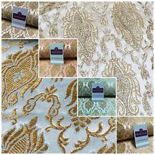Gold Banarsi Ornamental Waistcoat Brocade Damask Jacquard Fabric 150 cm MR1295