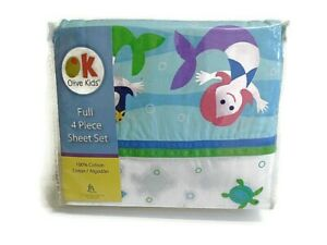OK Olive Kids Full 4 Piece Mermaids Sheet Set