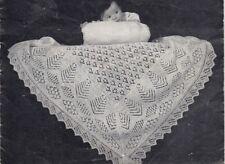 2 Vintage Shetland Knitting Pattern copy BABY Lacy Shawl Cobweb Design 2 ply