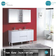 1500mm LUX BATHROOM Vanity WITH DOUBLE BOWL Under Counter Stone Top ON LEGS