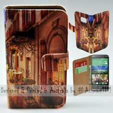 Wallet Phone Case Flip Cover for HTC One M8 - Alp Street Night Cafe Illustration