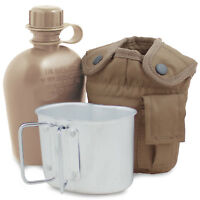 Army Water Bottle, Mug & Pouch Set Canteen Camping Hiking Military Coyote Tan