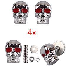 4x Skull License Plate Frame Bolts Tag Fastener Screws Red Eye Motor for Harley