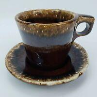 Hull Oven Proof USA Coffee Mug Cup With Saucer Plate Brown Mirror Drip Vintage