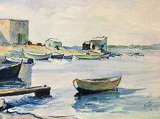 Martigues Les Laurons aquarelle port ancien cabanon démoli 1944 monogrammée 1939
