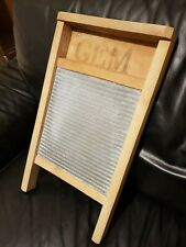 More details for gem vintage smallish washboard zinc with wood 44cm with 22.5cm working surface