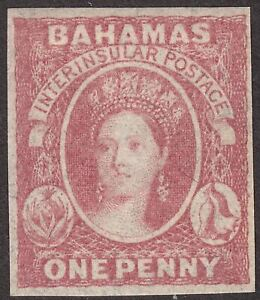 Bahamas 1860 QV Chalon 1d Dull Lake Imperf Mint SG2 cat £65