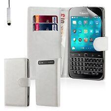 Buch Etui Pu Leder Schutzhülle Cover Blackberry Handys + Displayschutz & Nadel