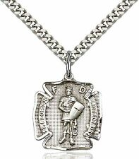Sterling Silver St. Florian Medal Pendant Fighters With a 24'' Chain Necklace