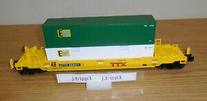 LIONEL 2023100 TTX MAXI-STACK CAR w ETD O GAUGE TRAIN INTERMODAL EMP CONTAINERS