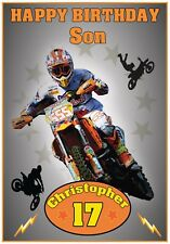 Personalised Motorcross Themed Birthday Card - Awesome !