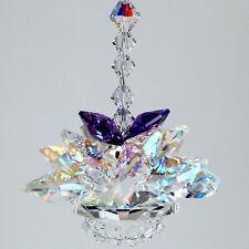 Purple & Large (18mm Ab Leaves) Blooming Lotus Suncatcher m/w Swarovski Crystal