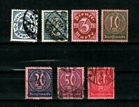 Germany stamps #o14 - 21, mint & used, minus a couple, short set, 1922-23, SC$15