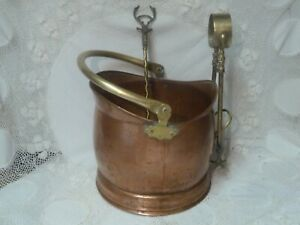 VINTAGE COPPER BRASS BUCKET TOASTER TONGS FIREPLACE COMPANION SET FIRESIDE FIRE