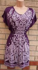 PURPLE WHITE BAROQUE FLORAL LYCRA TIE NECK CAMI  BLOUSE T SHIRT TOP TUNIC  12 M