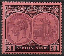 1922 St. Kitts Nevis 1£ MNH SG n. 36 £ 300,00