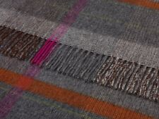 BRONTE NEW RANGE PURE MERINO LAMBSWOOL THROW BLANKET RUG  - GREY PATCHWORK