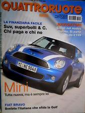 Quattroruote 613 2006 Nuova Mini. Fiat Bravo sfida la Golf. Pininfarina P4/5 Q95