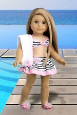 Fun with the Sun - Doll Clothes Swimsuit, 18 inch Doll Outfit, Flip Flops Towel