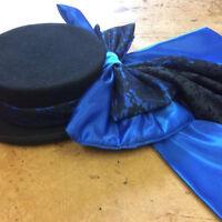Concours d'elegance blue lace hat bow and drape , riding hat, hat accessory