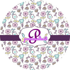 Personalised Monogrammed Name Initial Round Mouse Pad Purple Small Flowers A