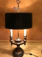 """Vintage Frederick Cooper Brass Bouillotte Lamp With Black Shade 30"""" Tall"""