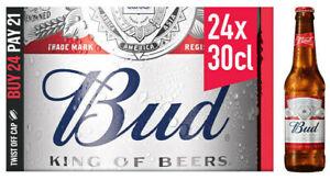 BUD Bier 24 x 300 ml * ALC. 5.0 % Vol.* Nr. 1 USA Beer * THE KING OF BEERS