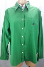 Tommy Hilfiger Womens Button Front Shirt sz 14 Green Classic Long Sleeve