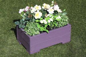 Purple Wooden Decking Trough Planter Veg Bed Flower Plant Pots 50x32x23 (cm)