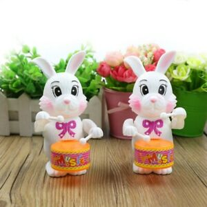 1pc Cartton Rabbit Drumming Clockwork Wind-Up Toys Funny Kids Game Free Shipping
