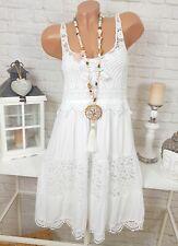 Sommer Hippie Kleid Minikleid Vintage Weiß Stickerei Lagenlook Spitze 36-38-40