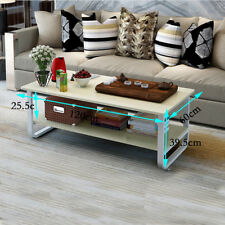 Retro Coffee Table Metal Frame Wooden Desk Shelf Living Room Modern Tea Table