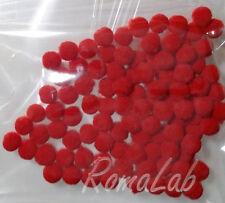 100 pom pom 8 mm ponpon rossi SCRAPBOOKING DECORAZIONI applicazioni BOMBONIERE