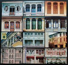 1990 Singapore Complete Set 12 Postcards Architectural Heritage Mint Unused