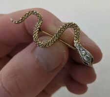 Vintage 9ct Gold Snake Brooch