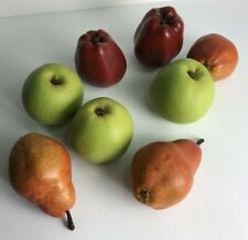 Vintage Set of 8 green and red composite apples and pears artificial fruit