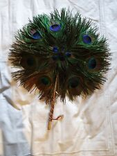 Beautiful REAL PEACOCK feather hand fan VGC from india