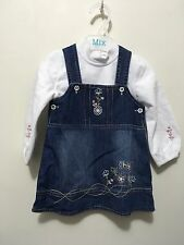 BNWOT unbranded girls skivy and embroidered denim dress size 0 (6-9 months)