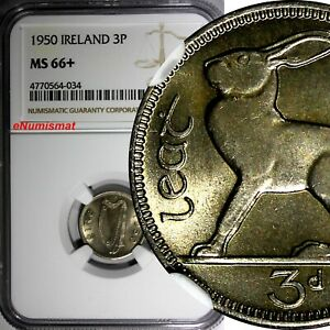 "Ireland Republic Copper-Nickel 1950 3 Pence NGC MS66+ ""PLUS"" GEM BU COIN KM# 12a"