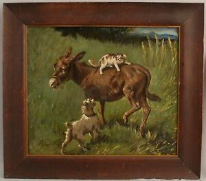 19thC Antique FILIPPO PALIZZI Genre Oil Painting Donkey Norfolk Terrier Dog Cat