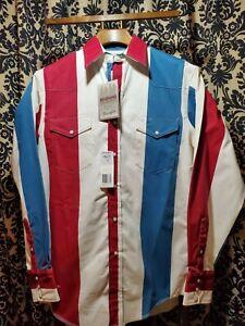 NWT Wrangler Western Brushpopper Shirt Red White & Blue Striped Med Xtra Long