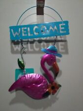 Hanging Decor Metal Welcome Sign Plaque With Flamingo