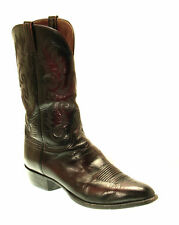 LUCCHESE Black Cherry Full Leather Cowboy Western Boots Men 13 D #E1559